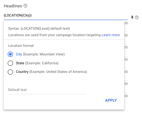 Location Insertion Google Ads Accella Digital